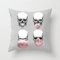 Skulls Chewing Bubblegum Throw Pillow