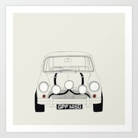 The Italian Job White Mini Cooper Art Print
