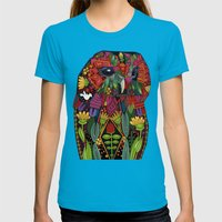 Tawny Owl Turquoise Womens Fitted Tee Teal SMALL