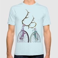 Bicycles in Love Mens Fitted Tee Light Blue SMALL
