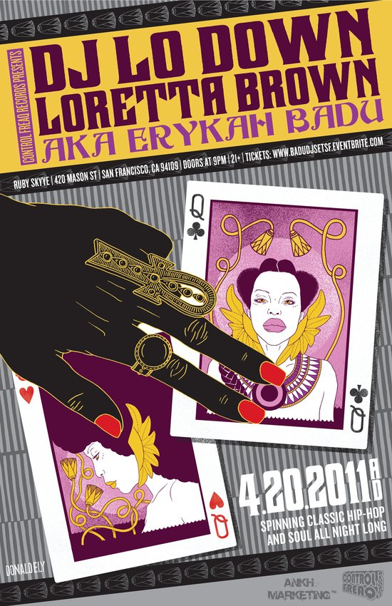 Erykah Badu aka DJ Lo Down Loretta Brown San Francisco Event Poster Art Print