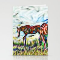 Abstract Horses In Paddo… Stationery Cards