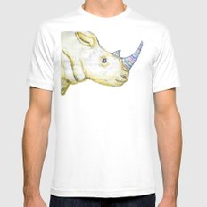 Striped Rhino Illustration Mens Fitted Tee White SMALL