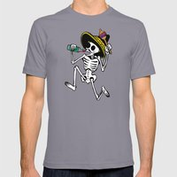 DANCING CALAVERA  Mens Fitted Tee Slate SMALL