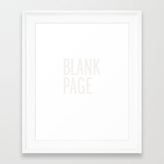 Blank Page Framed Art Print