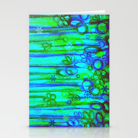 WINTER GARDEN -Bright Blue Green Neon Snowflake Floral Abstract Watercolor Painting and Digital Art Stationery Card