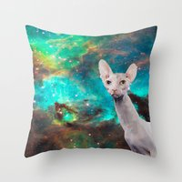 Long Neck  Cat Throw Pillow