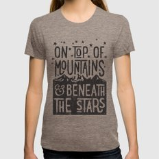 On Top Of Mountain And B… Womens Fitted Tee Tri-Coffee SMALL