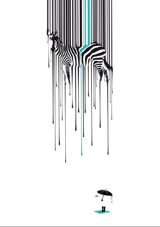 Raining zebra Art Print