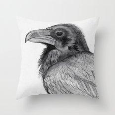 Sketchy Raven Study Throw Pillow