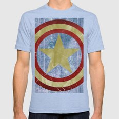 Vintage Capt America Mens Fitted Tee Tri-Blue SMALL