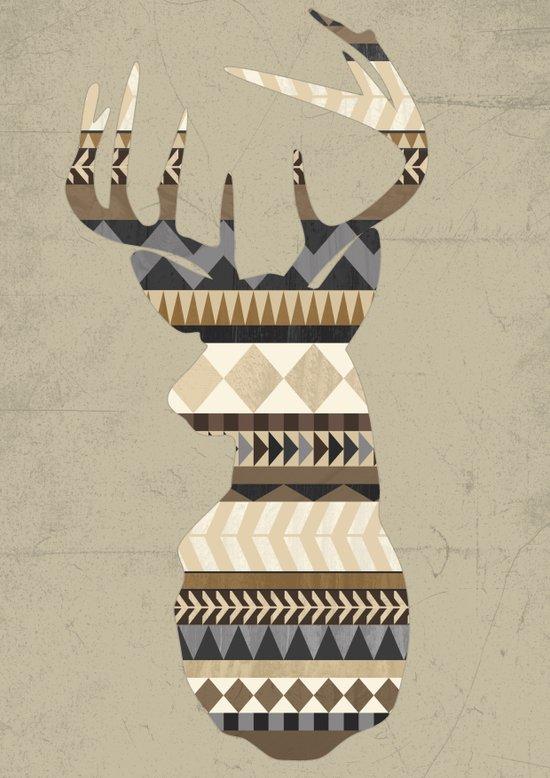 Dusty Stag Head Aztec Print Art Print