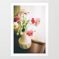 Pink And White Flowers I… Art Print