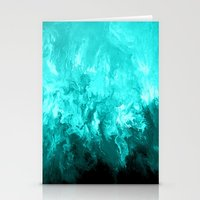 Teal - Fluid Abstract Art Stationery Cards