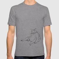 Fat Cat illustration Mens Fitted Tee Athletic Grey SMALL