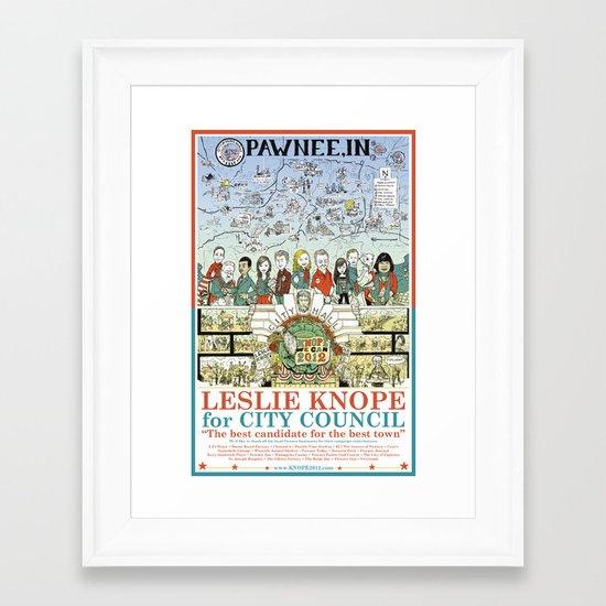 Leslie Knope for City Council - Parks and Recreation Dept. Framed Art Print