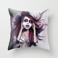 LISTEN TO MUSIC Throw Pillow