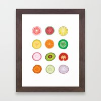 Fruit and Vegetable Collaged Art Framed Art Print