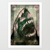 shark Art Prints featuring Shark by Alex Tobler