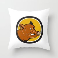 Wild Boar Razorback Head Startled Circle Cartoon Throw Pillow