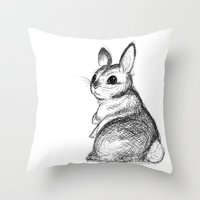 Ballpoint Bunny Throw Pillow