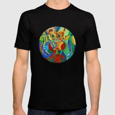 Rainbow Owl Black SMALL Mens Fitted Tee