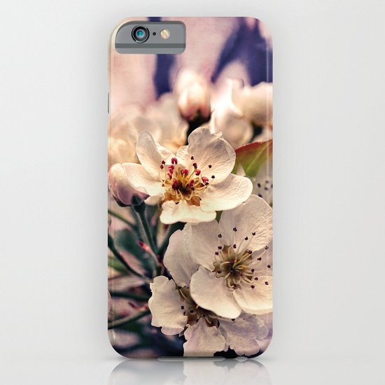 Blossoms at Dusk - vintage toned & textured macro photograph iPhone & iPod Case