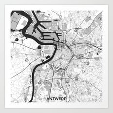 Antwerp Map Gray Art Print