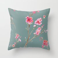 2016 Calendar Print - Cherry Blossoms Throw Pillow