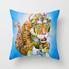 Harbaugh's Tiger & Cub Throw Pillow