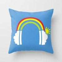Rainbowphones Throw Pillow