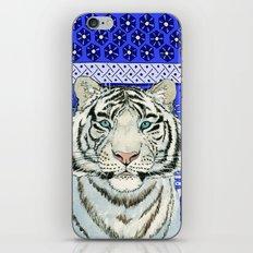 White Tiger in blue Az024 iPhone & iPod Skin