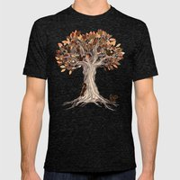 Little Visitors - Autumn tree illustration with squirrels Mens Fitted Tee Tri-Black SMALL