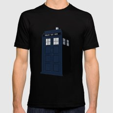 Dr Who - The Doctor's Tardis - Police Phone Box Mens Fitted Tee Black SMALL
