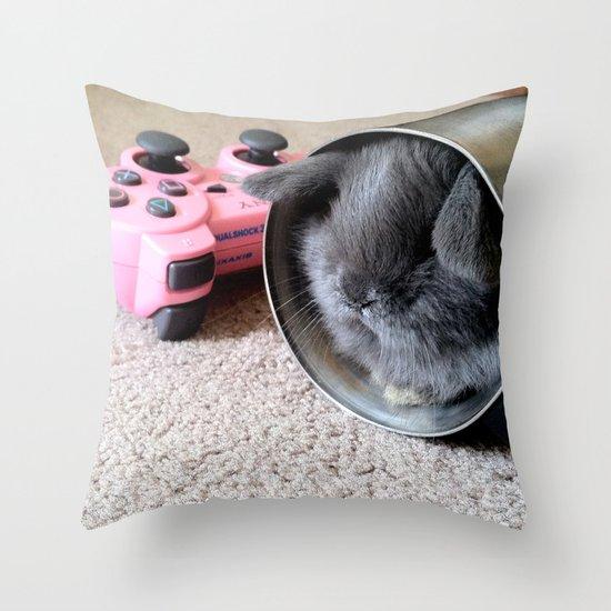 Gamer Bunny Throw Pillow