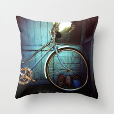 Bluebell the blue bicycle Throw Pillow