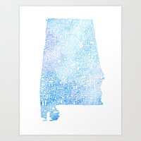 Typographic Alabama - Blue Watercolor map art Art Print