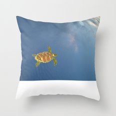 hawksbill swimming in the sky Throw Pillow