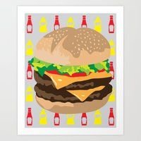 Double Cheeseburger Art Print