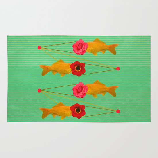 fishes and flowers Area & Throw Rug