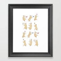 Queen's Corgi Dance Framed Art Print