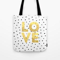 gold love Tote Bag