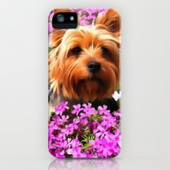 Dog With Pink Flowers iPhone (5, 5s) Slim Case
