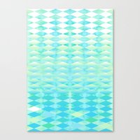 Aqua Watercolor With Ombre Harlequin Pattern Canvas Print
