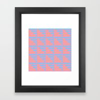 Pink Blue Peach Houndstooth /// www.pencilmeinstationery.com Framed Art Print