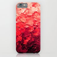 MERMAID SCALES 4 Red Vibrant Ocean Waves Splash Crimson Strawberry Summer Ombre Abstract Painting iPhone 6 Slim Case