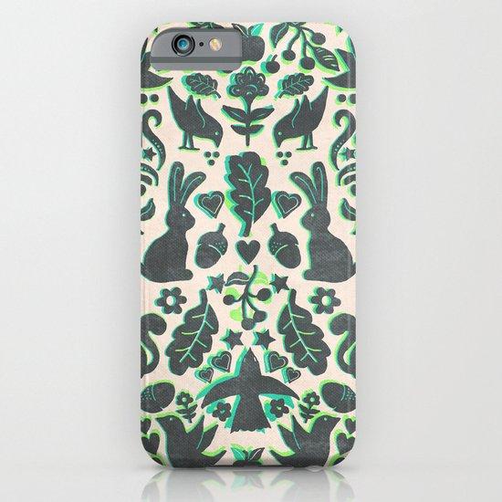 Two Rabbits - folk art pattern in grey, lime green & mint iPhone & iPod Case
