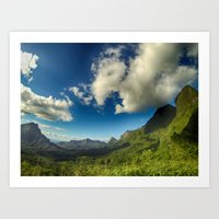 Moutains and clouds in French Polynesia Art Print