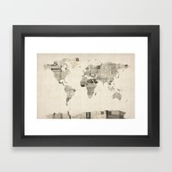 Framed Art Print featuring Map Of The World Map Fro… by ArtPause