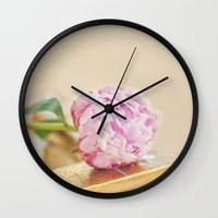 PEONY WITH GOLD Wall Clock